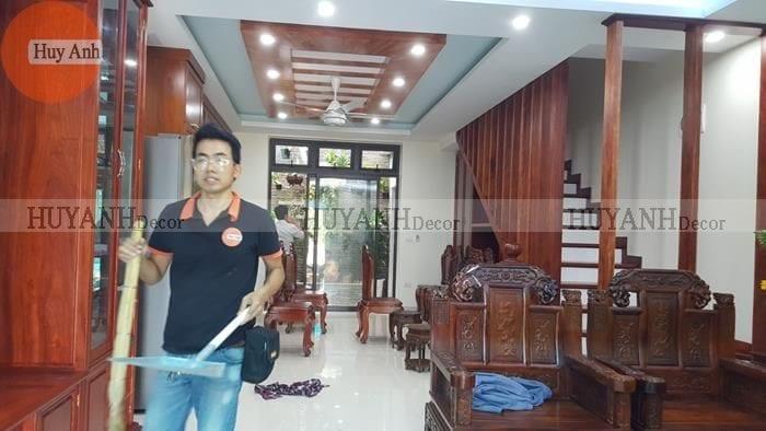 Công trình lắp rèm gỗ cửa sổ – Rèm vải tại KĐT Ao sào – Thịnh liệt Hoàng Mai