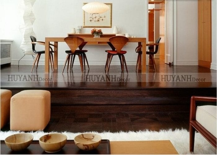 Cách kết hợp nội thất với rèm cửa và sàn gỗ tối màu đẹp