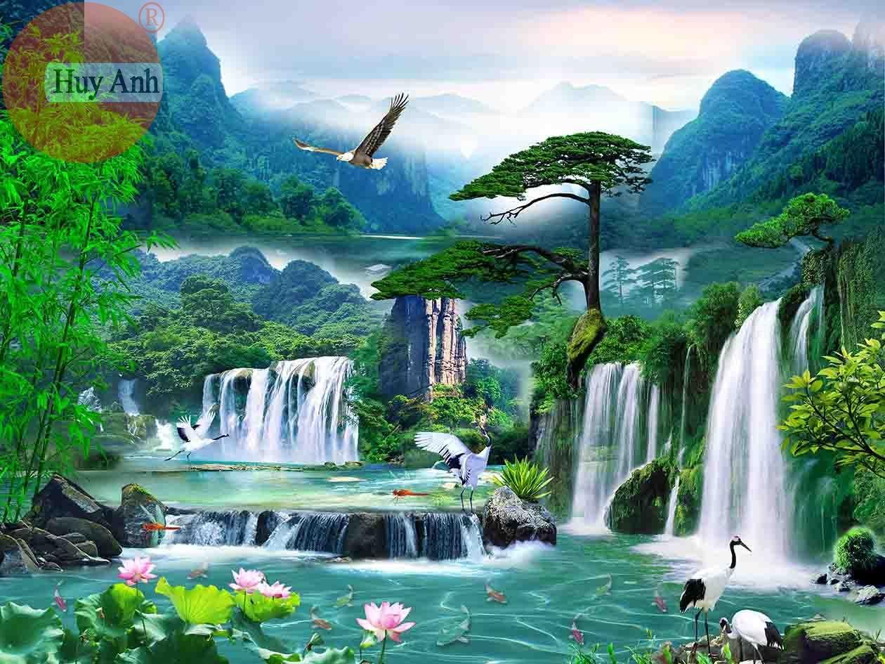 Rèm cuốn tranh thiên nhiên HA16