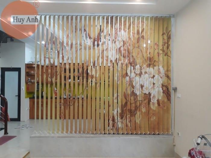 Lắp rèm lá dọc in tranh làm rèm ngăn phòng ở Lai xá, Hoài Đức