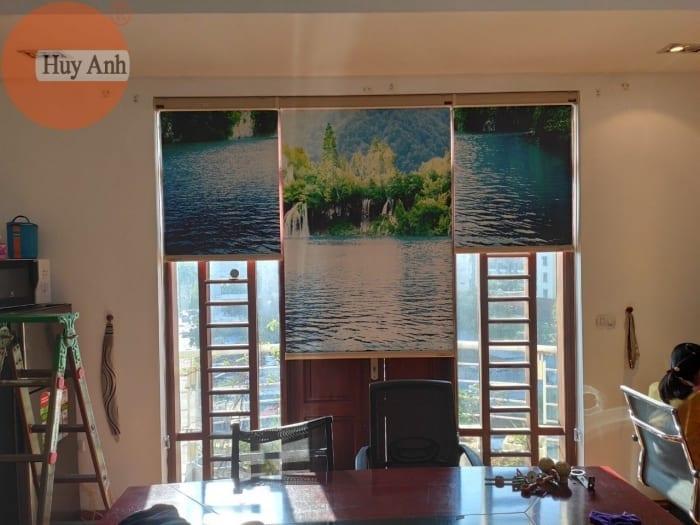 Lắp rèm cửa sổ cuốn in tranh tại 94 Trung kính, Cầu giấy, HN